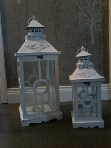 Square White Lanterns (Set of 2)